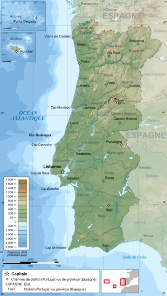 Carte du Portugal - Auteur: Bourrichon - Flickr
