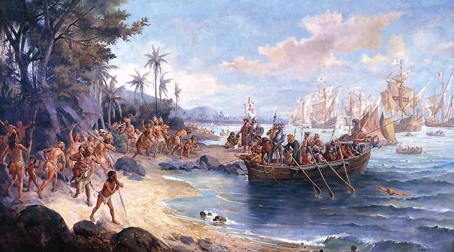 Arrivée de Pedro Alvares Cabral au Brésil